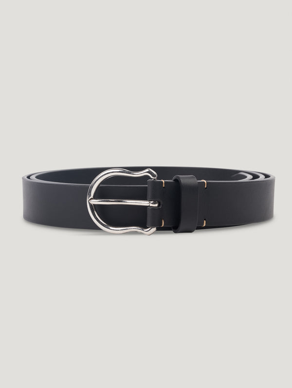 Connolly England | Black Plain Shield Buckle Belt