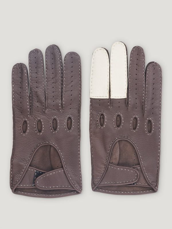 Brown and White Road Rage Gloves - Connolly England
