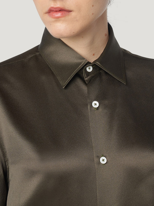 Connolly England | Bronze Satin Loose Fit Single Cuff Shirt