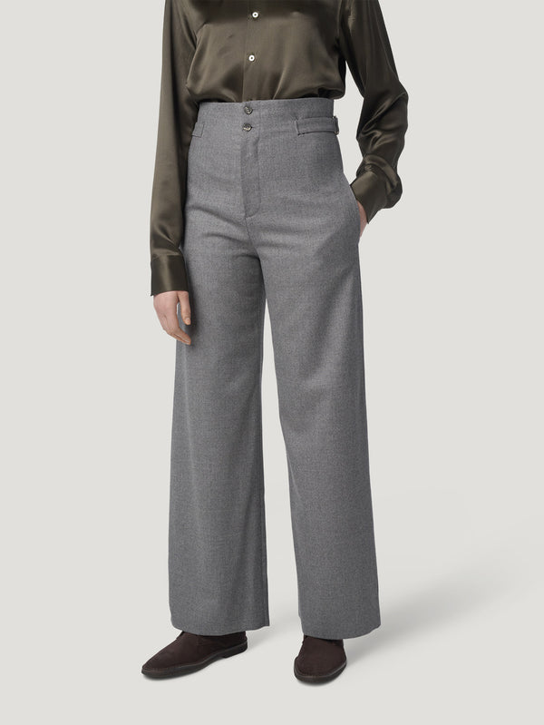 Connolly England | Grey Flannel Stretch Trousers with Sash