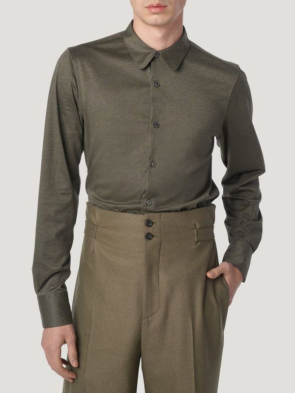 Connolly England | Khaki Single Cuff Jersey Fitted Shirt