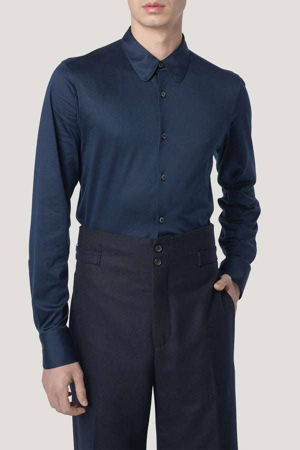 Connolly England | Navy Single Cuff Jersey Fitted Shirt