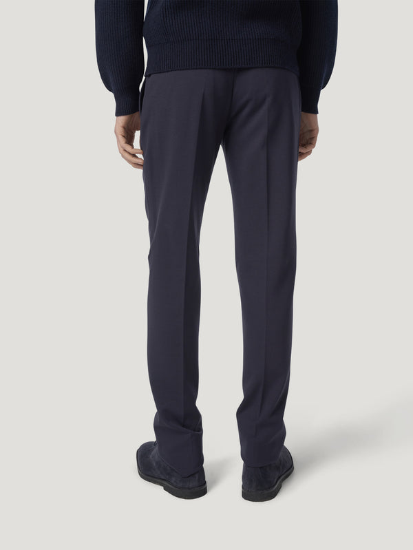 Navy High Waist Trousers Jersey Stretch - Connolly England