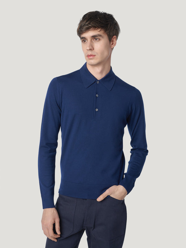 Connolly England | Navy Long Sleeve Polo