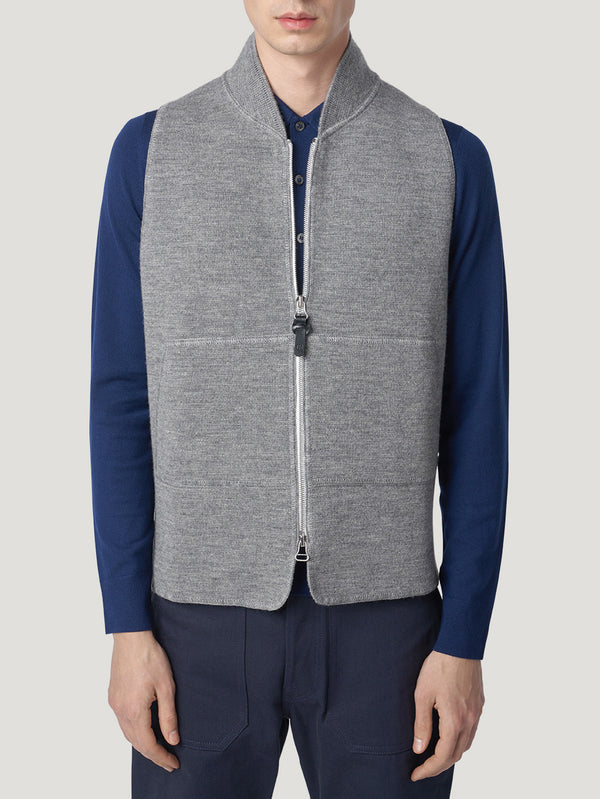 Connolly England | Grey Melange Wool Drop Back Car Vest
