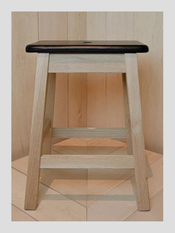Connolly England | Black Leather Topped Oak Stool