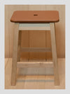 Tan Leather Topped Oak Stool - Connolly England