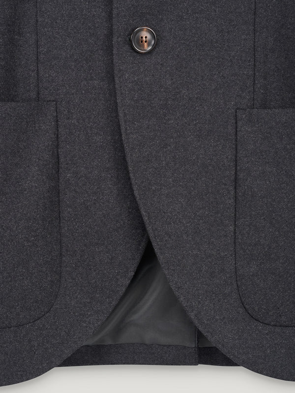 Grey 3 Button Wool Jacket