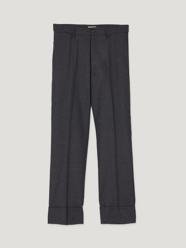 Grey High Waist Flannel Plain Trousers