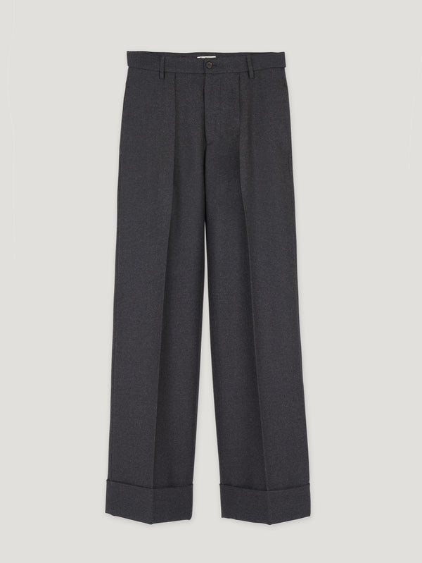 Grey Slouchy Flannel Trousers