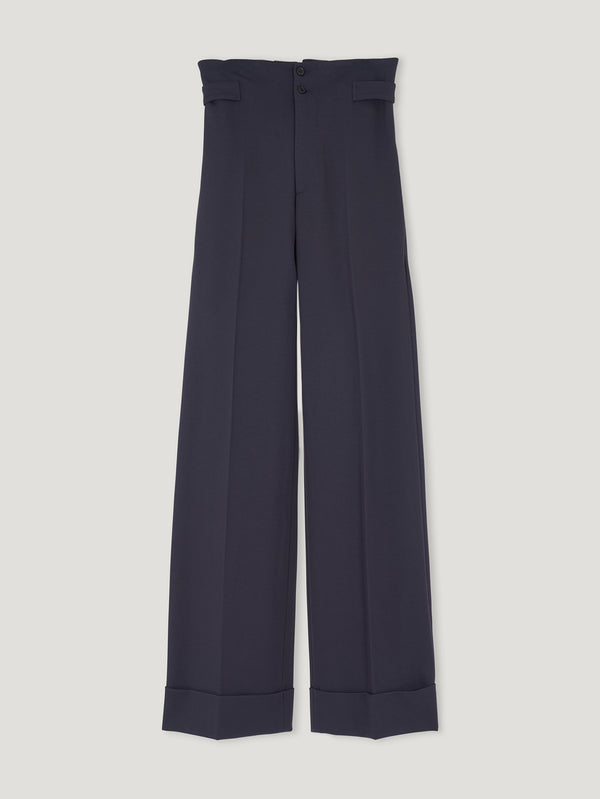 Navy Sash Jersey Trousers