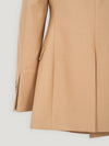 Beige Long DB Jacket Cinched Waist