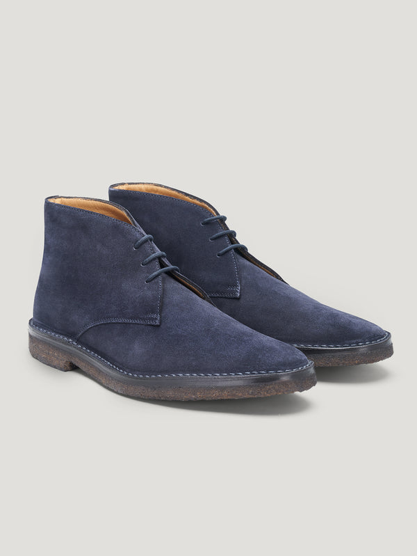 Navy High Car Boots