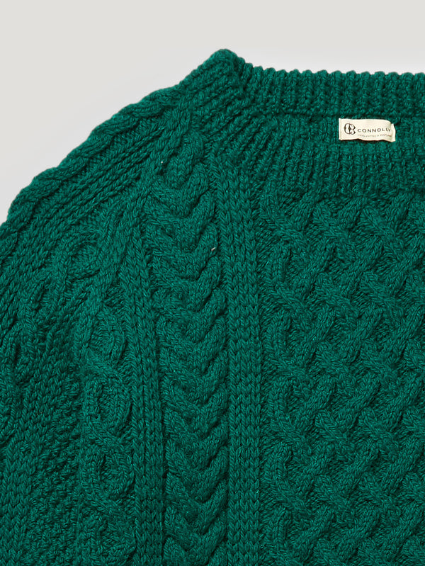 Green Handknit Cable Sweater