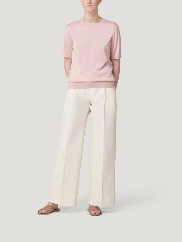 Pink Classic Cashmere & Silk T-Shirt