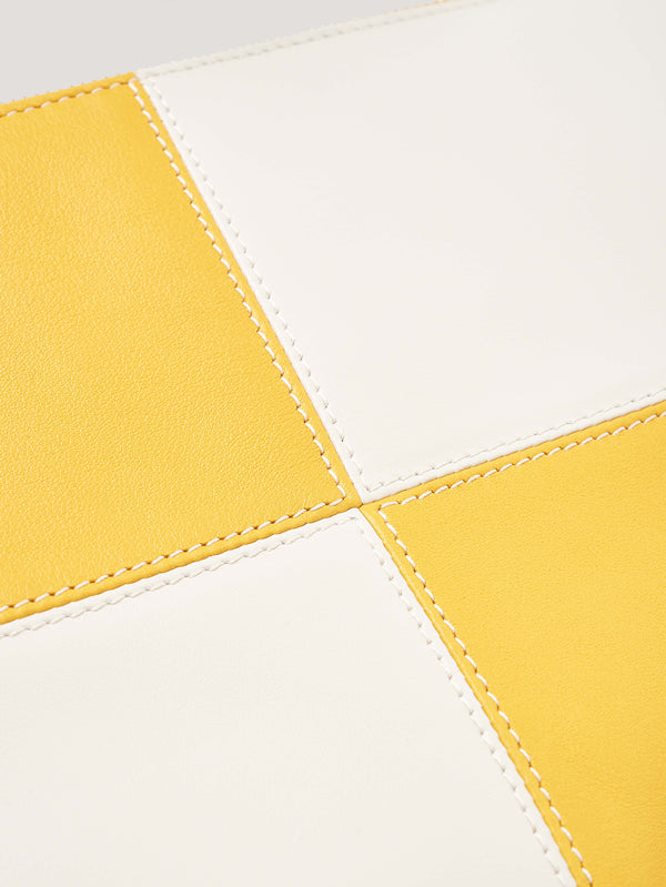 Yellow and White Large Circuit Pouch with Strap 1908