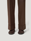 Brown Slouchy Flannel Trousers