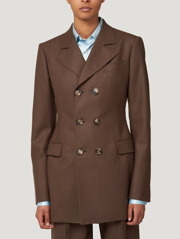 Brown Long DB Jacket Cinched Waist
