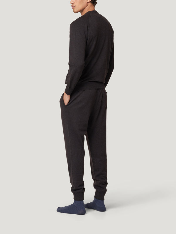 Navy/Brown Cashmere Track Pants