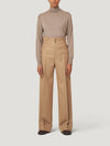 Beige Sash Flannel Trousers