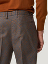Grey/Brown High Waist Flannel Print Trousers