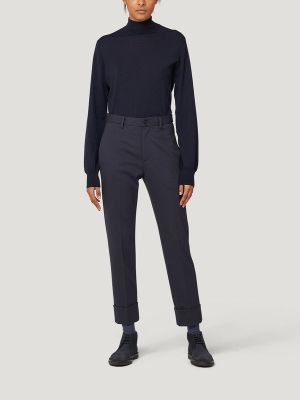 Navy High Waist Jersey Trousers
