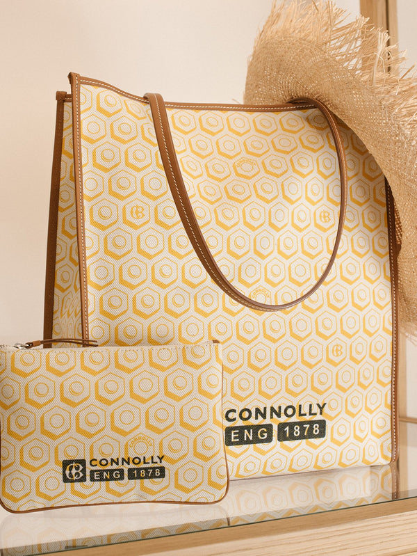 Yellow Small Printed Canvas Pouch - Connolly England