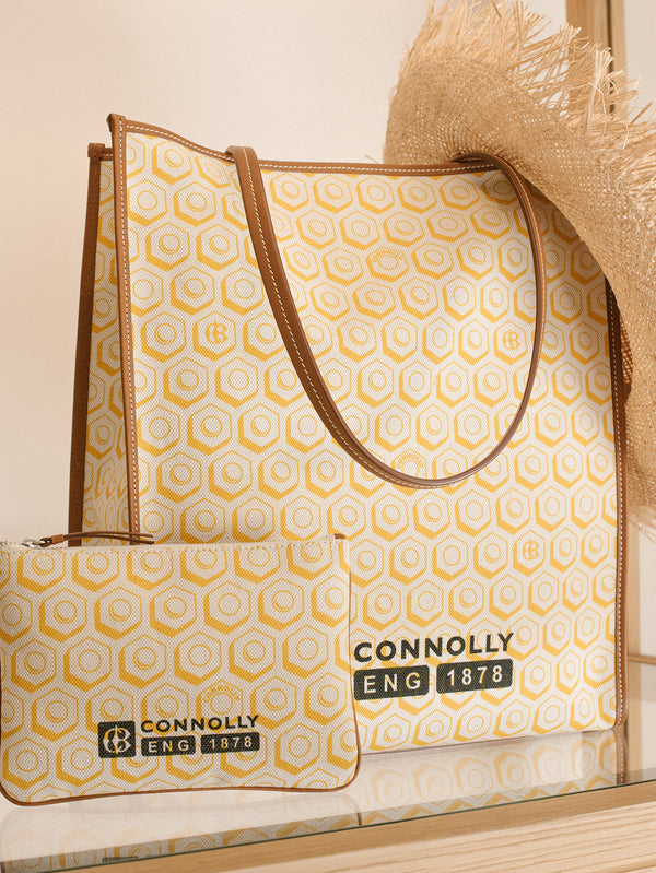 Connolly England | Yellow Printed Canvas Shopper