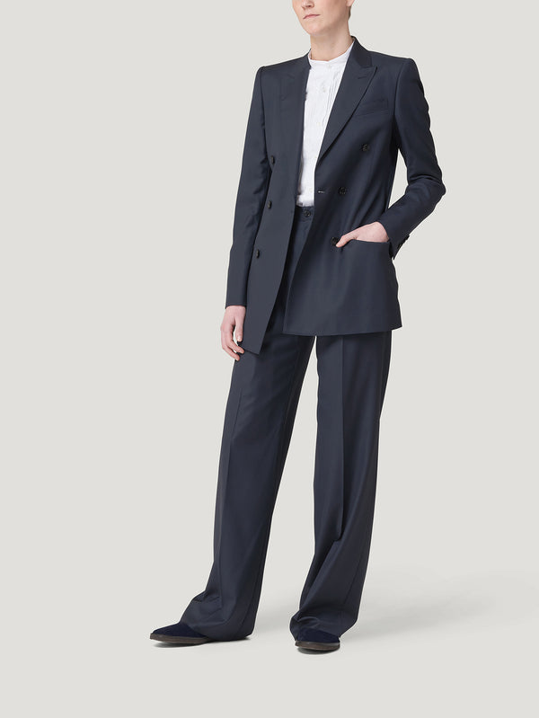 Navy Double Breasted Wool Suit