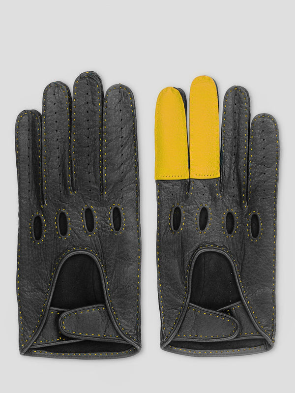 Black and Yellow Road Rage Gloves - Connolly England