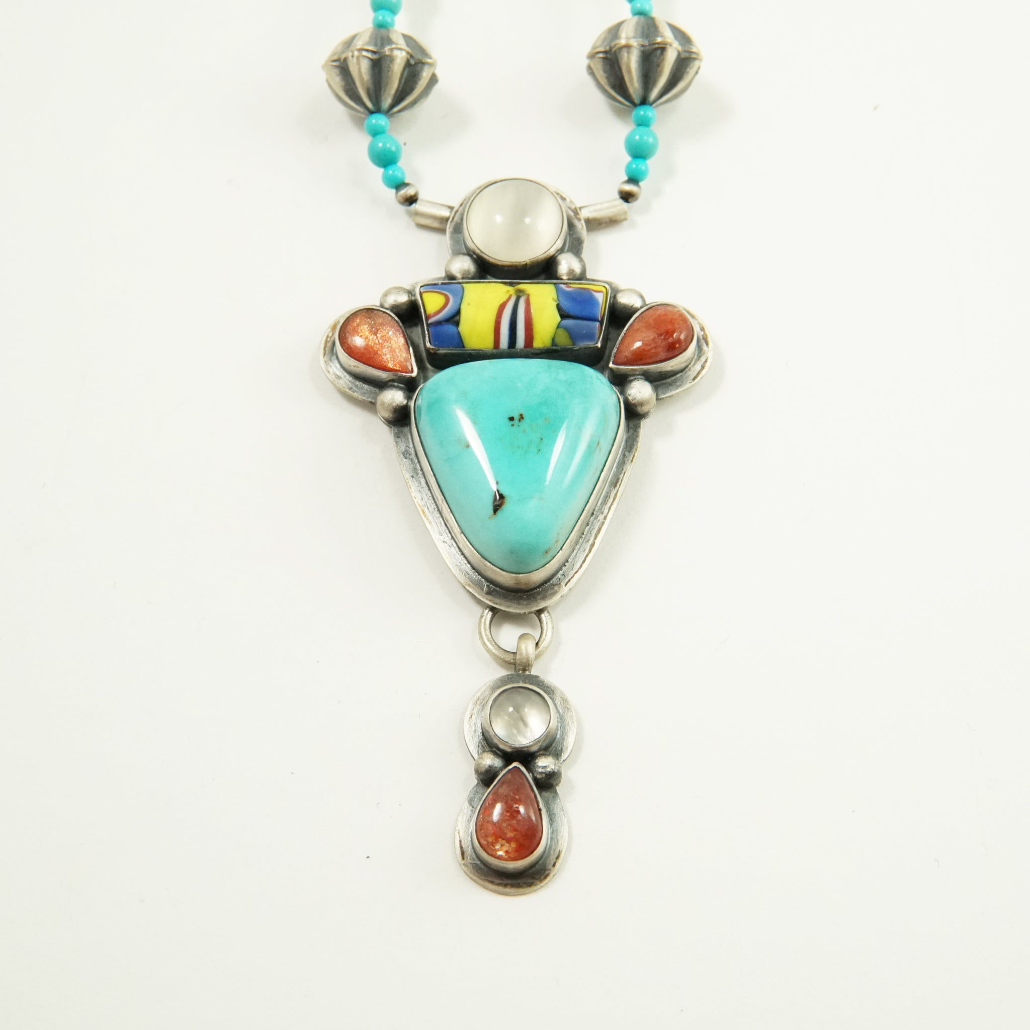 Trade Beads, Turquoise & Moonstone Necklace by Jimmy Secatero