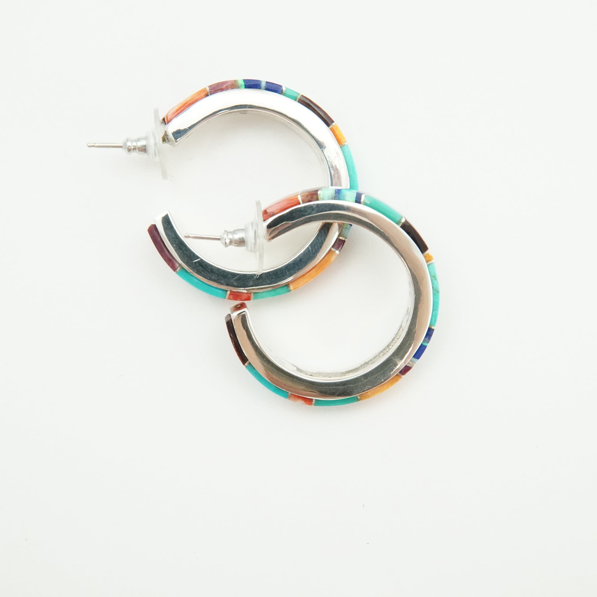 Multi-Stone Inlaid Hoops by Alvin Begay