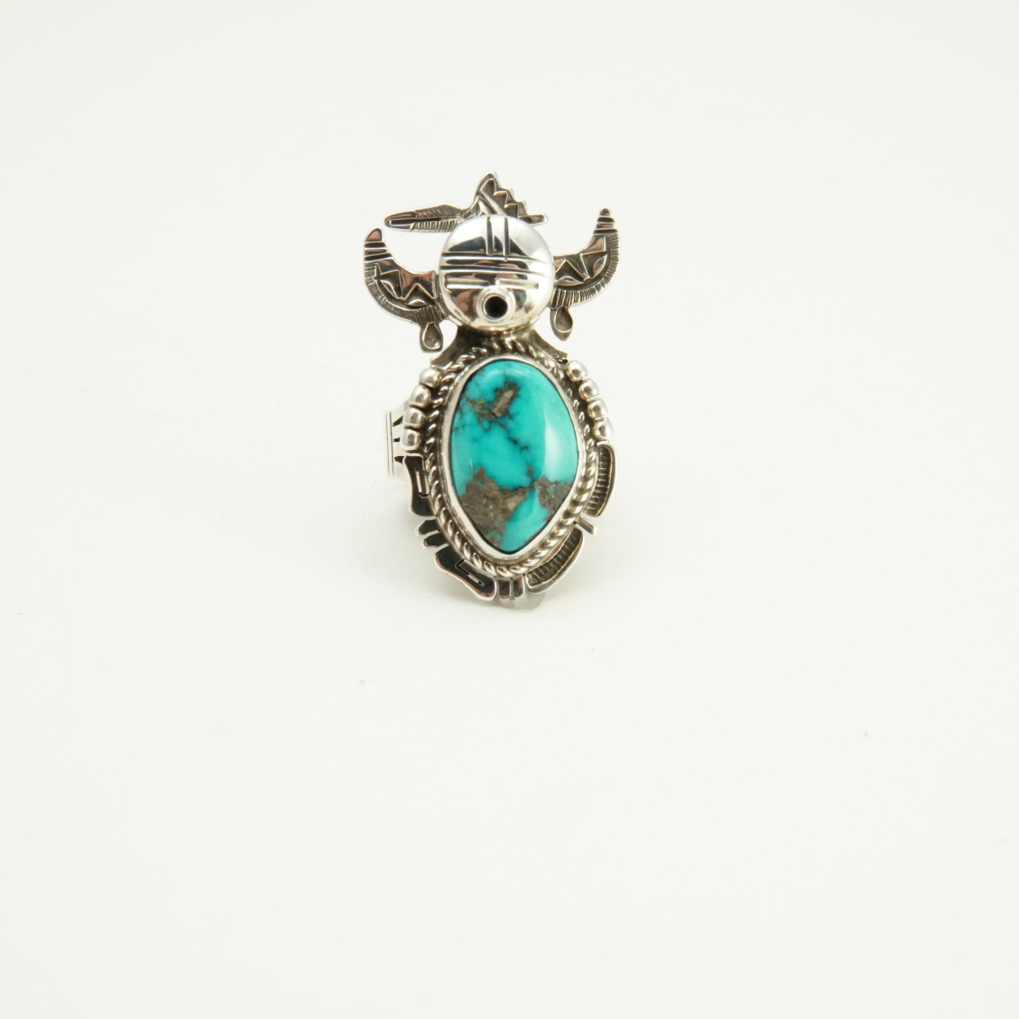 Morenci turquoise and silver Kachina ring by Bennie Ration