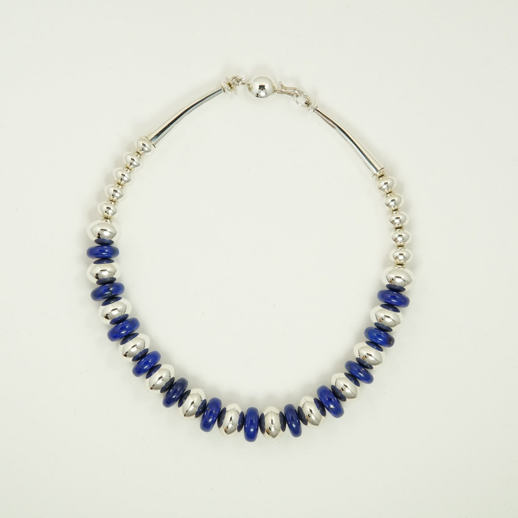 Lapis & Silver Bead Necklace by Artie Yellowhorse