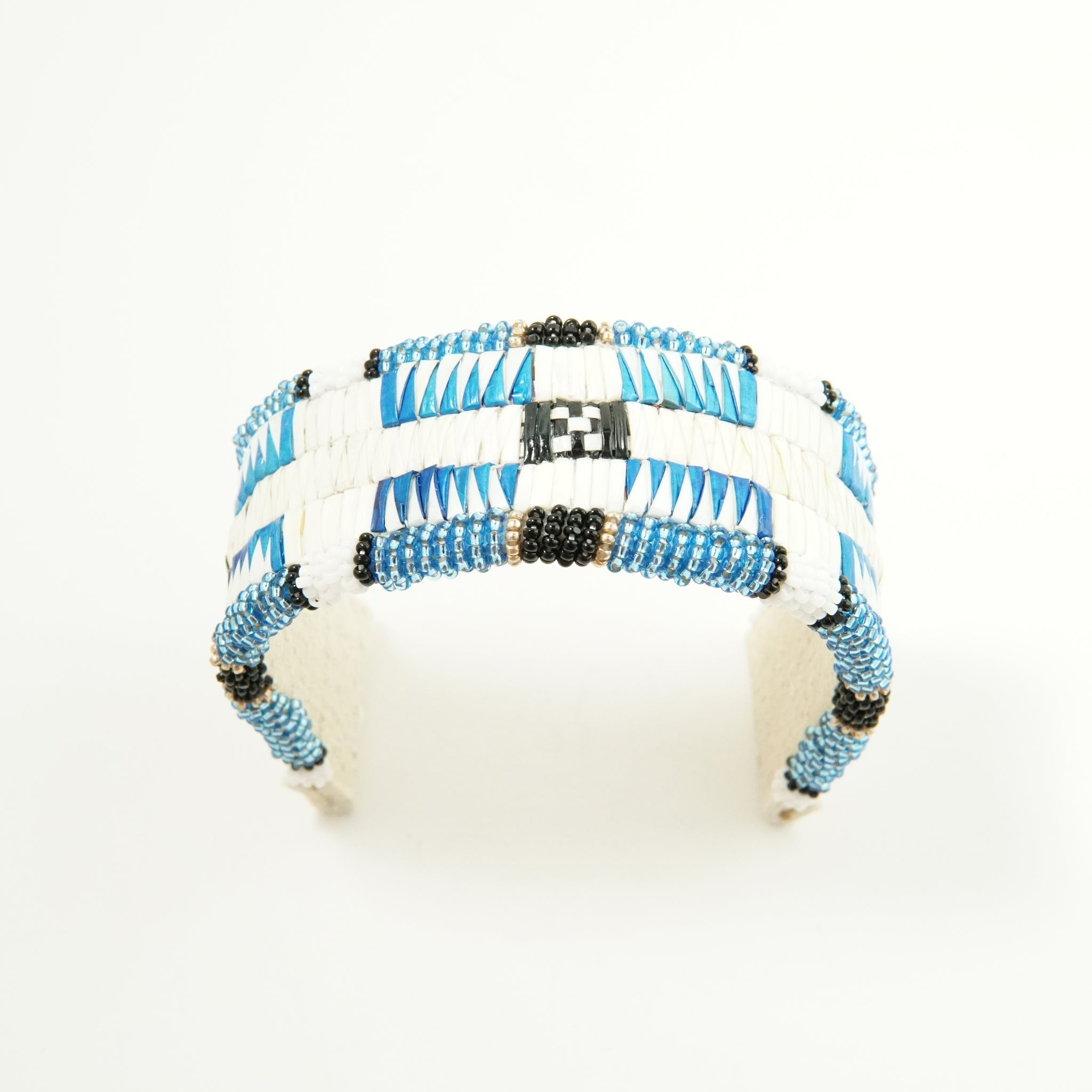 Blue & White Wide Quill Bracelet by Deborah Magee