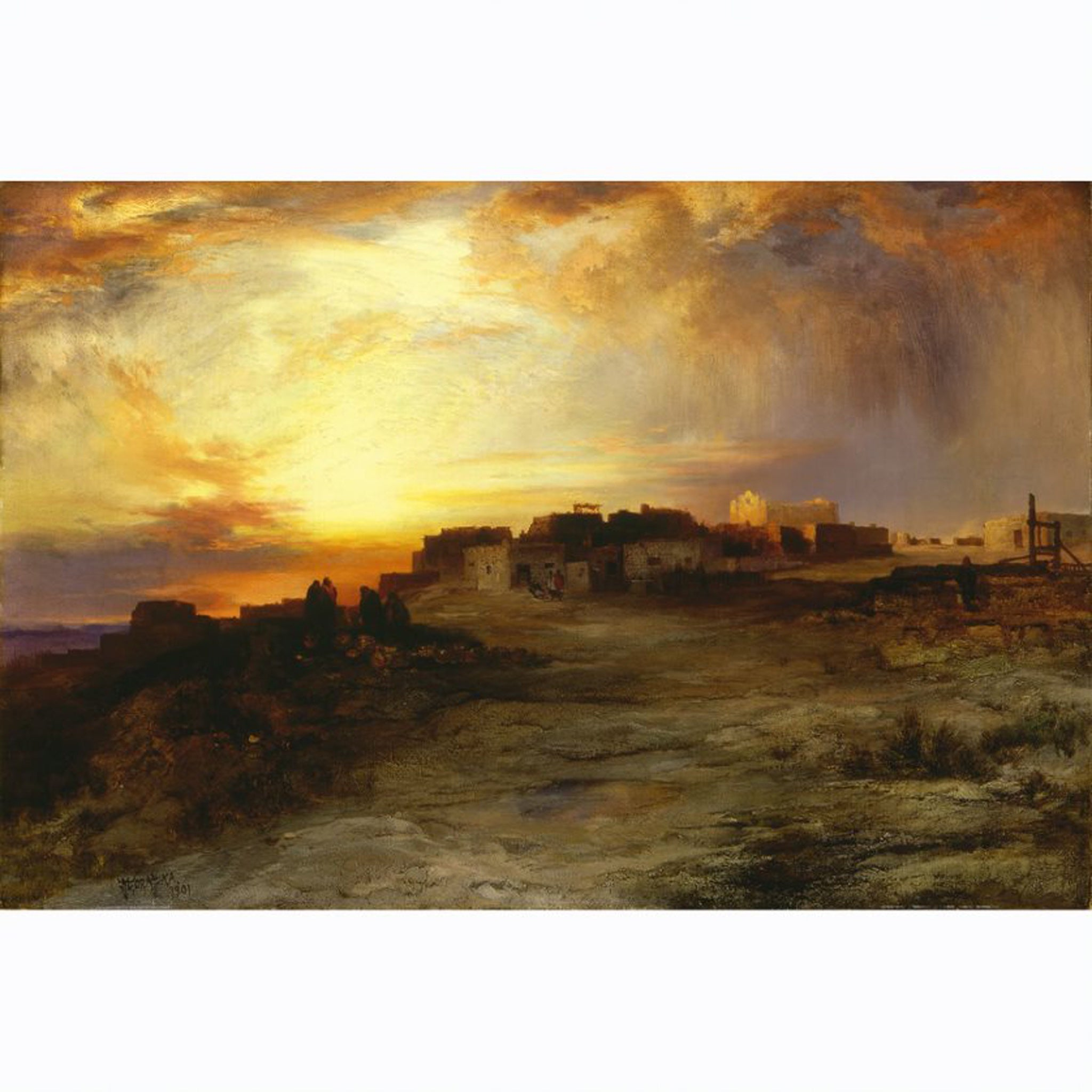 PR 68* PUEBLO AT SUNSET (LAGUNA) BY THOMAS MORAN #31006658