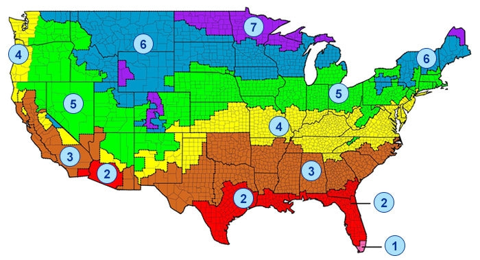 Map of USA recommended insulation R-values by zone