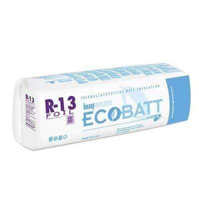 Knauf Ecobatt R-13 Foil Faced Fiberglass Insulation Batts - 3.5 in x 16 in x 96 in (1 Bag) Batts