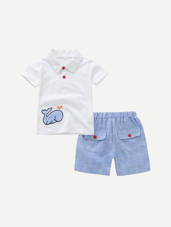 Polo avec broderie & Short à carreaux