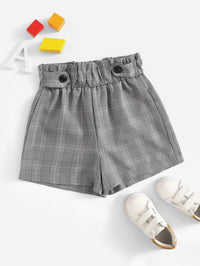 SHEIN Shorts fille Gris Boutons Casual Plaid