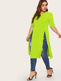 T-shirt long fendu fluo