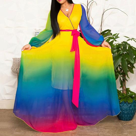 Longue robe maxi multicolores