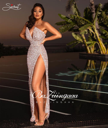 2021 Robe sexy en sequin fendu haut