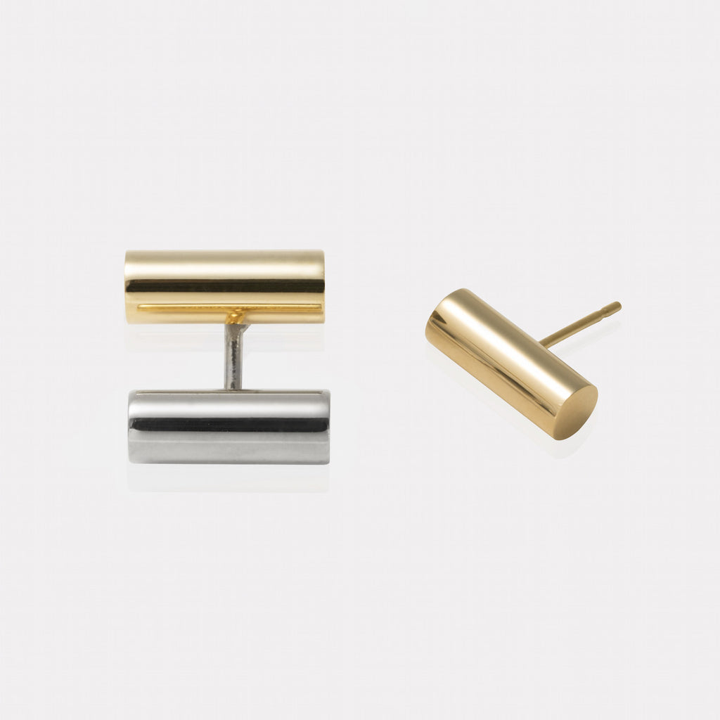 Double Bar Floating Earrings Silver and Gold