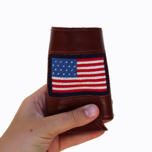Rudder USA American Flag Leather Koozie. American Flag Leather Can Cooler. Needle Stitch Koozie. American Flag Boat Accessory. Durable Boat Accessory. Needle Stitched in the USA. High Quality Koozie.