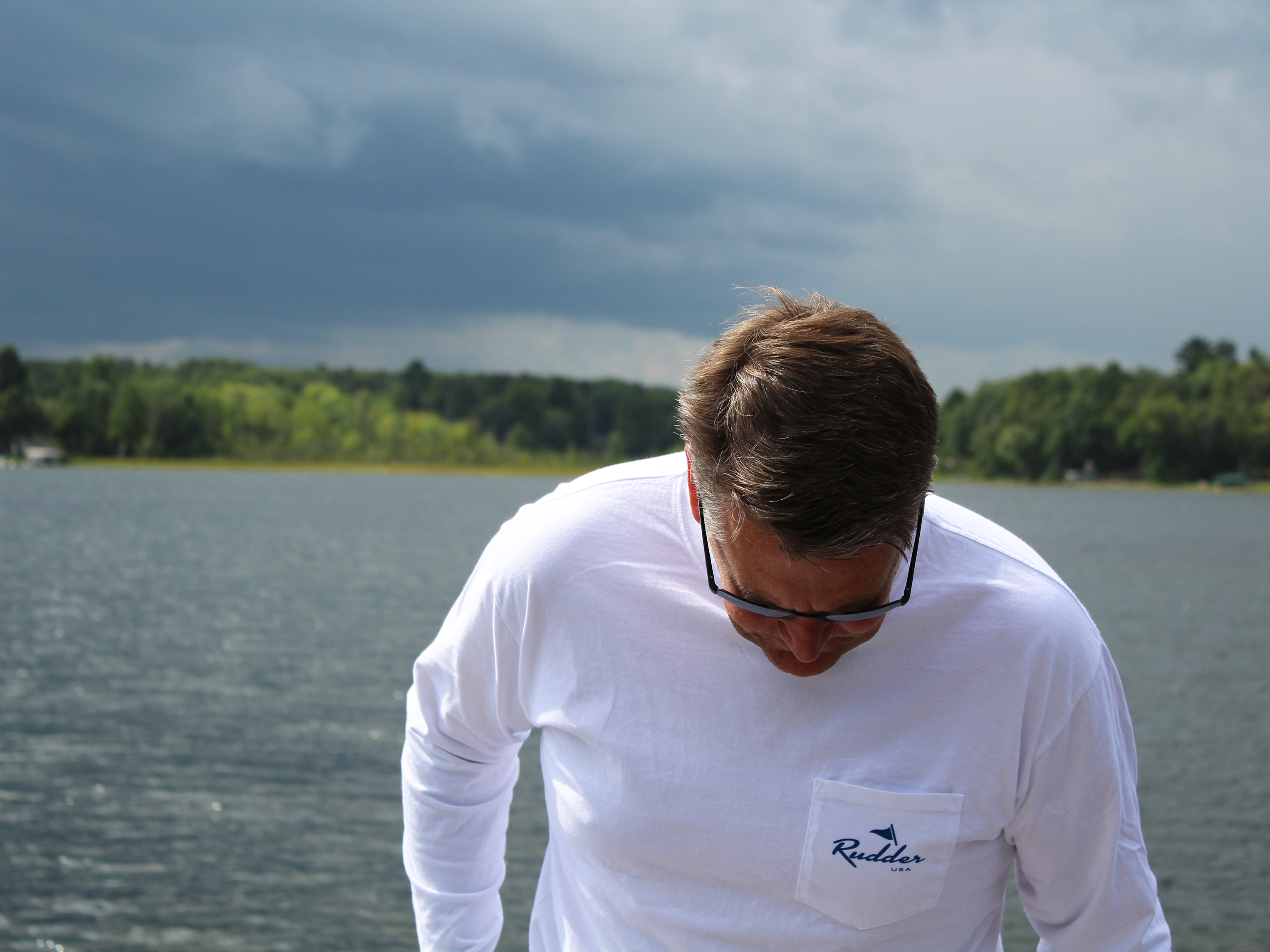 Rudder USA Long Sleeve Logo T Shirt. Preppy Nautical Long Sleeve Shirt. Screen Printed Rudder USA Shirt. Comfortable Long Sleeve shirt. White Long Sleeve T Shirt. Classic White Long Sleeve T Shirt.