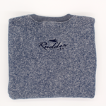 Rudder USA Captain's Crewneck Sweater back image. Rudder USA logo embroidered on the back of our comfortable Captain's Crewneck sweater. Sweater is Sapphire blue embroidered with a navy blue stitch.
