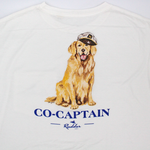 Rudder USA Co-Captain Golden Retriever Dog Print on White shirt with blue wording. Rudder USA Nautical Print Short Sleeve T Shirt in Classic White..