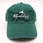 Rudder USA Forest Green Classic Logo Baseball Hat. Dark Green Nautical Baseball Hat. Embroidered in the USA. Preppy Accessories. Preppy Clothing.