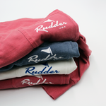 Rudder USA Long Sleeve Logo T Shirt color stack. Rudder USA Logo on long sleeve t-shirts. Preppy Long Sleeve T Shirts. Comfortable Long Sleeve T Shirts. 100% Cotton Long Sleeve T Shirts.